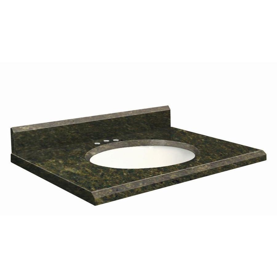 Transolid Uba Verde Granite Undermount Single Sink Bathroom Vanity Top (Common: 37-in x 19-in; Actual: 37-in x 19-in)