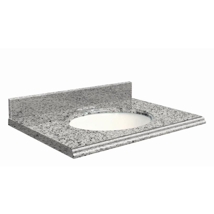 Transolid Rosselin White Granite Undermount Single Sink Bathroom Vanity Top (Common: 37-in x 19-in; Actual: 37-in x 19-in)
