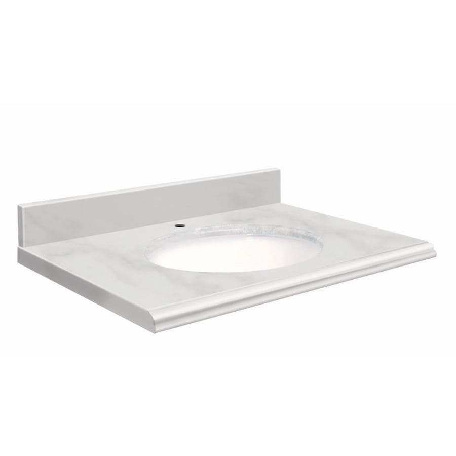Transolid White Natural Marble Undermount Single Sink Bathroom Vanity Top (Common: 37-in x 19-in; Actual: 37-in x 19-in)