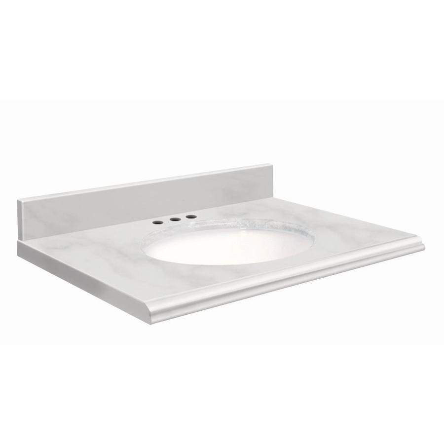 Transolid White Natural Marble Undermount Single Sink Bathroom Vanity Top  (Common: 37 In