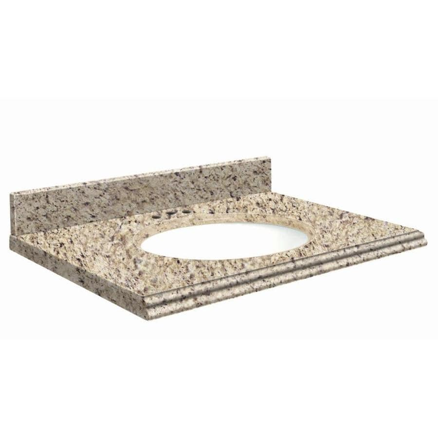 Transolid Giallo Ornamental Granite Undermount Single Sink Bathroom Vanity Top (Common: 37-in x 19-in; Actual: 37-in x 19-in)