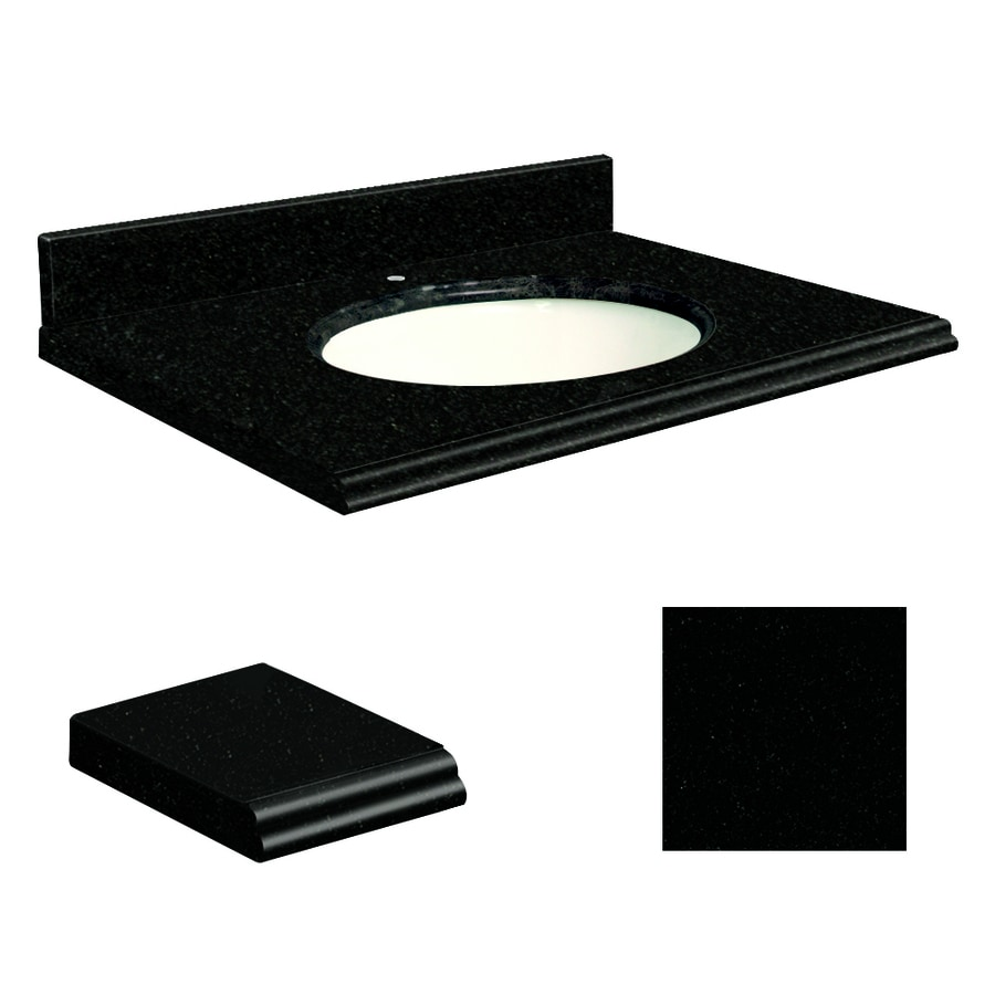 Transolid Absolute Black Granite Undermount Single Sink Bathroom Vanity Top (Common: 37-in x 19-in; Actual: 37-in x 19-in)