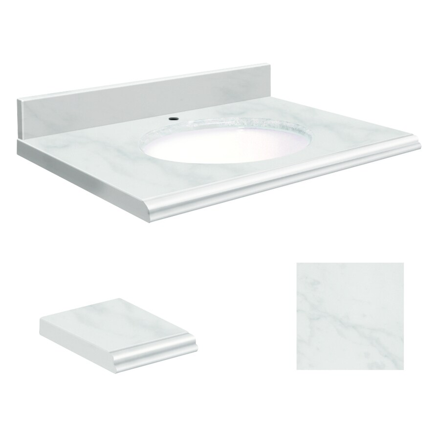 Bathroom Vanity 37 X 22 shop transolid white marble natural marble undermount single sink