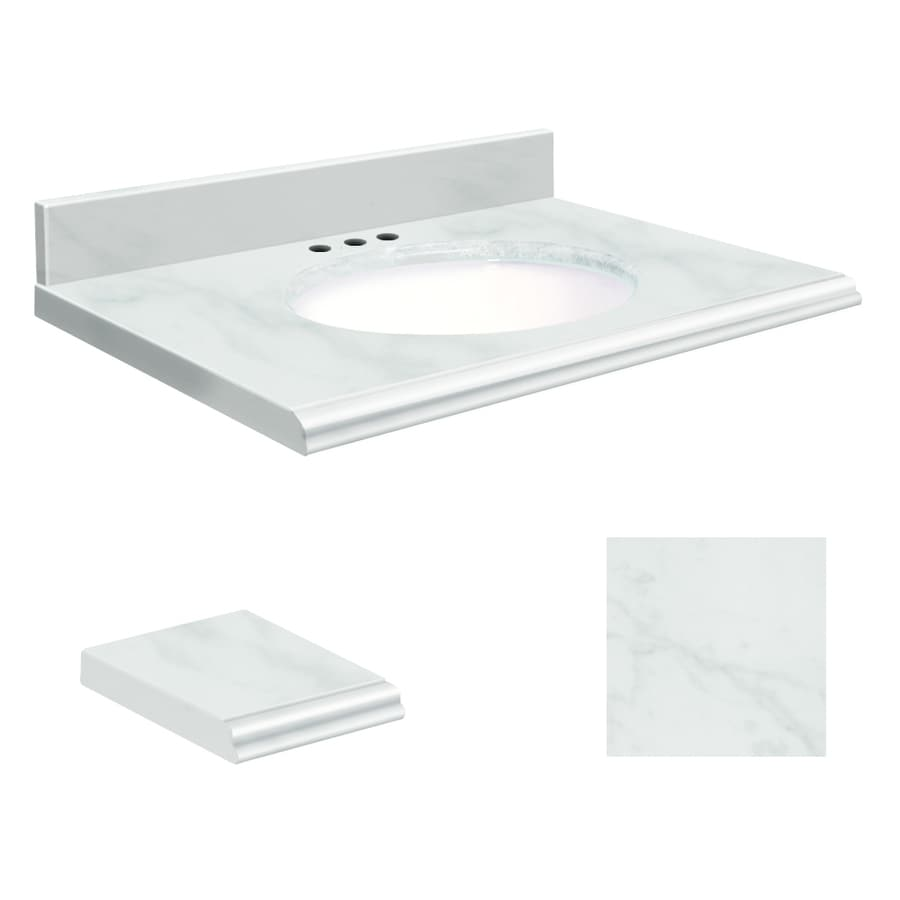 Transolid White Natural Marble Undermount Single Sink Bathroom Vanity Top (Common: 37-in x 22-in; Actual: 37-in x 22-in)