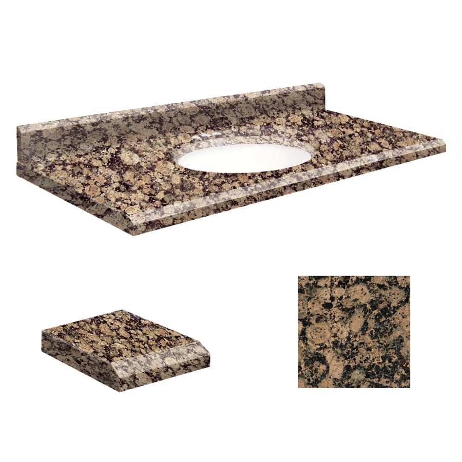 Transolid Baltic Brown Granite Undermount Single Sink Bathroom Vanity Top (Common: 43-in x 22-in; Actual: 43-in x 22-in)