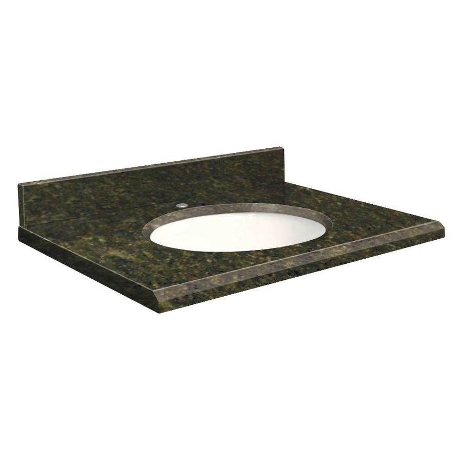 Transolid Uba Verde Granite Undermount Single Sink Bathroom Vanity Top (Common: 43-in x 22-in; Actual: 43-in x 22-in)