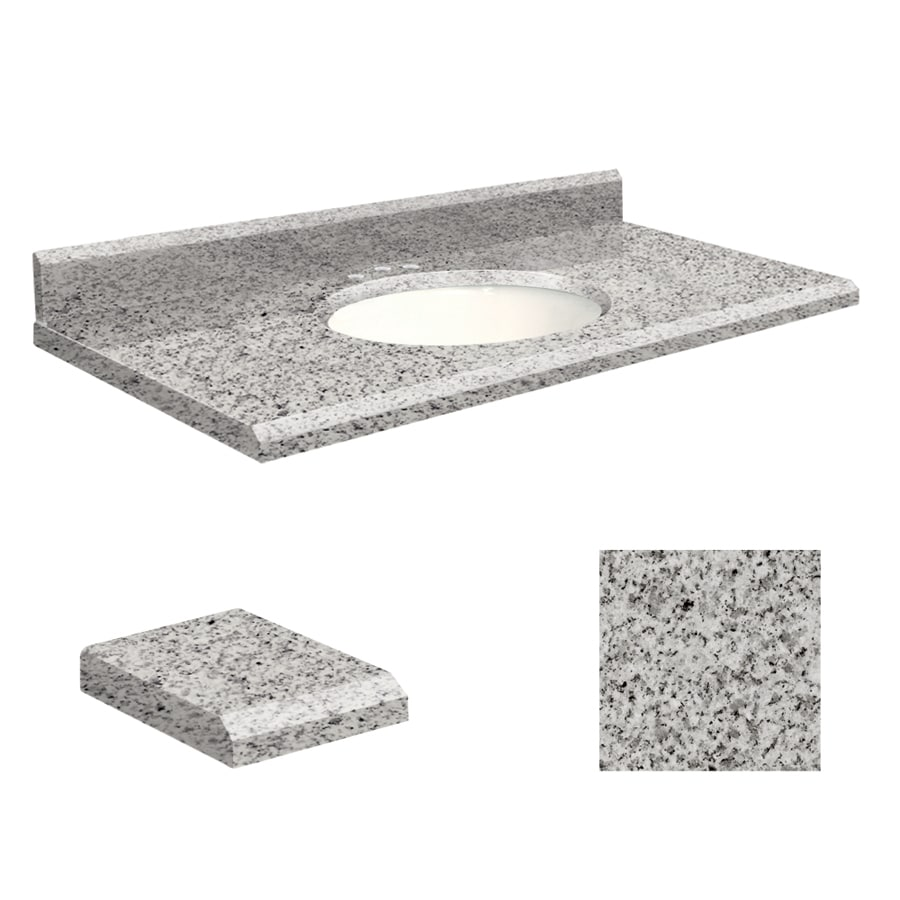 Transolid Rosselin White Granite Undermount Single Sink Bathroom Vanity Top (Common: 43-in x 22-in; Actual: 43-in x 22-in)