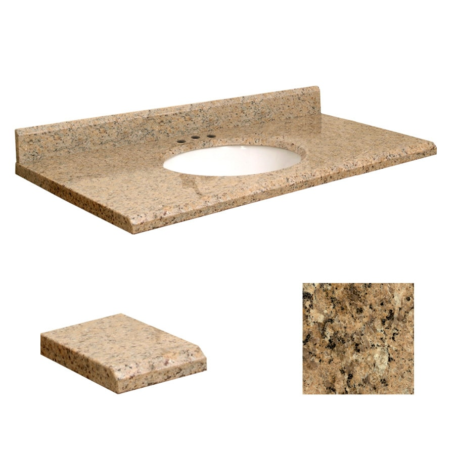 Transolid Giallo Veneziano Granite Undermount Single Sink Bathroom Vanity Top (Common: 43-in x 22-in; Actual: 43-in x 22-in)