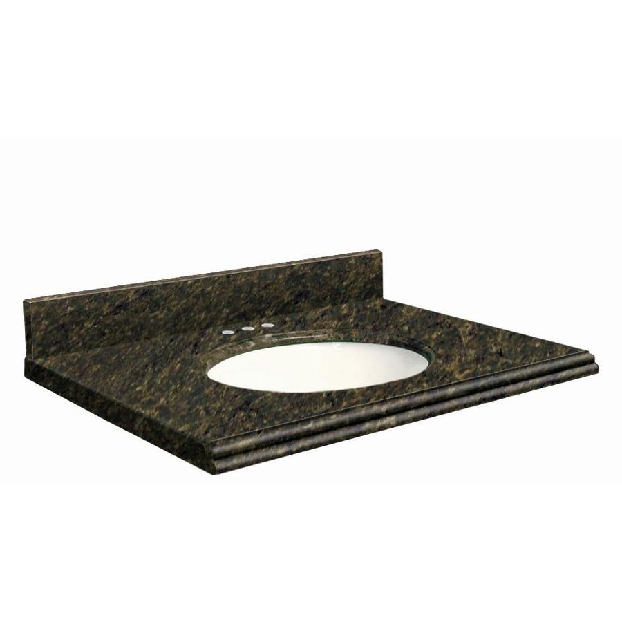 Transolid Uba Verde Granite Undermount Single Sink Bathroom Vanity Top (Common: 43-in x 22-in; Actual: 43-in x 22-in)