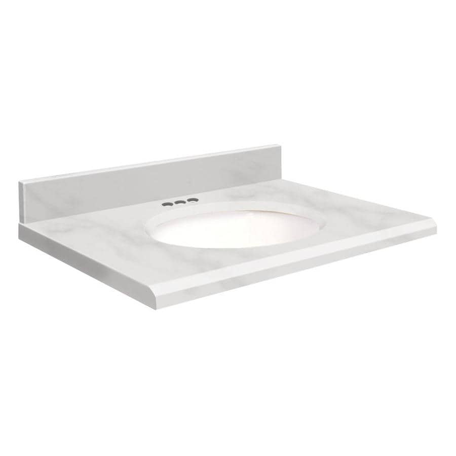 Transolid White Natural Marble Undermount Single Sink Bathroom Vanity Top (Common: 49-in x 19-in; Actual: 49-in x 19-in)