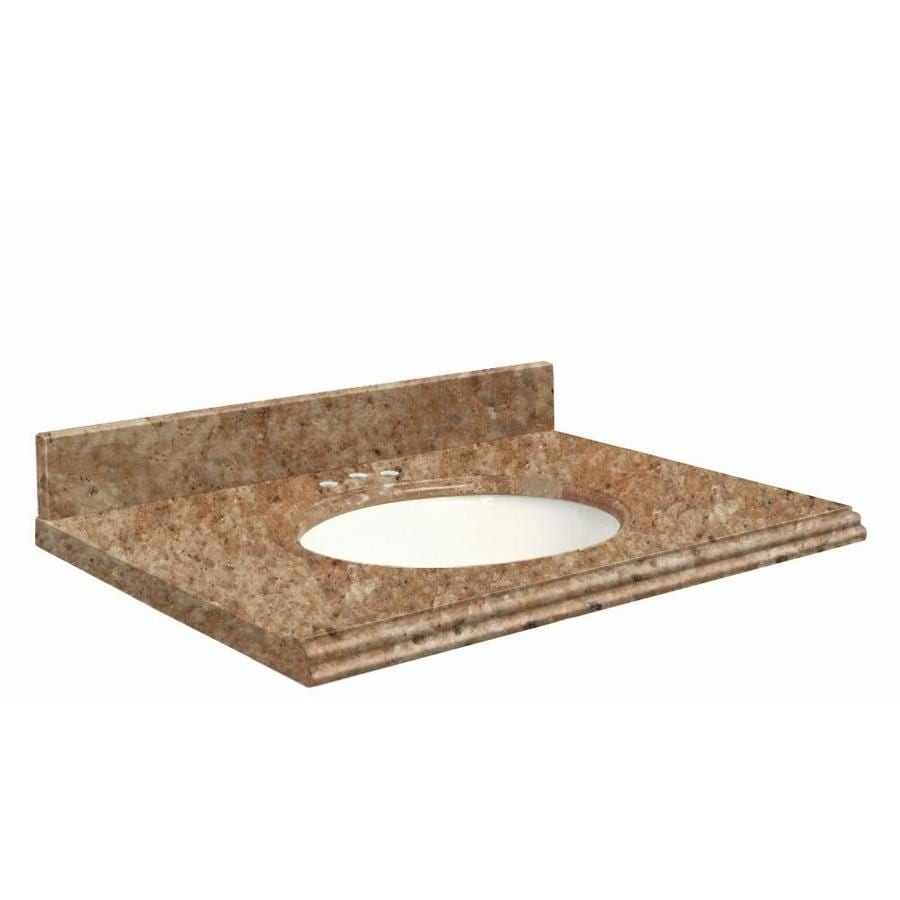 Transolid India Gold Granite Undermount Single Bathroom Vanity Top (Common: 49-in x 22-in; Actual: 49-in x 22.25-in)