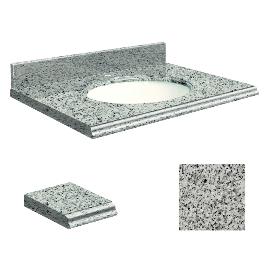Transolid Rosselin White Granite Undermount Single Sink Bathroom Vanity Top (Common: 49-in x 22-in; Actual: 49-in x 22.2500-in)