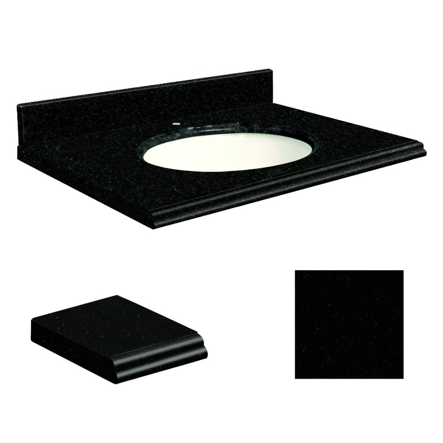 Transolid Absolute Black Granite Undermount Single Bathroom Vanity Top (Common: 49-in x 22-in; Actual: 49-in x 22.25-in)