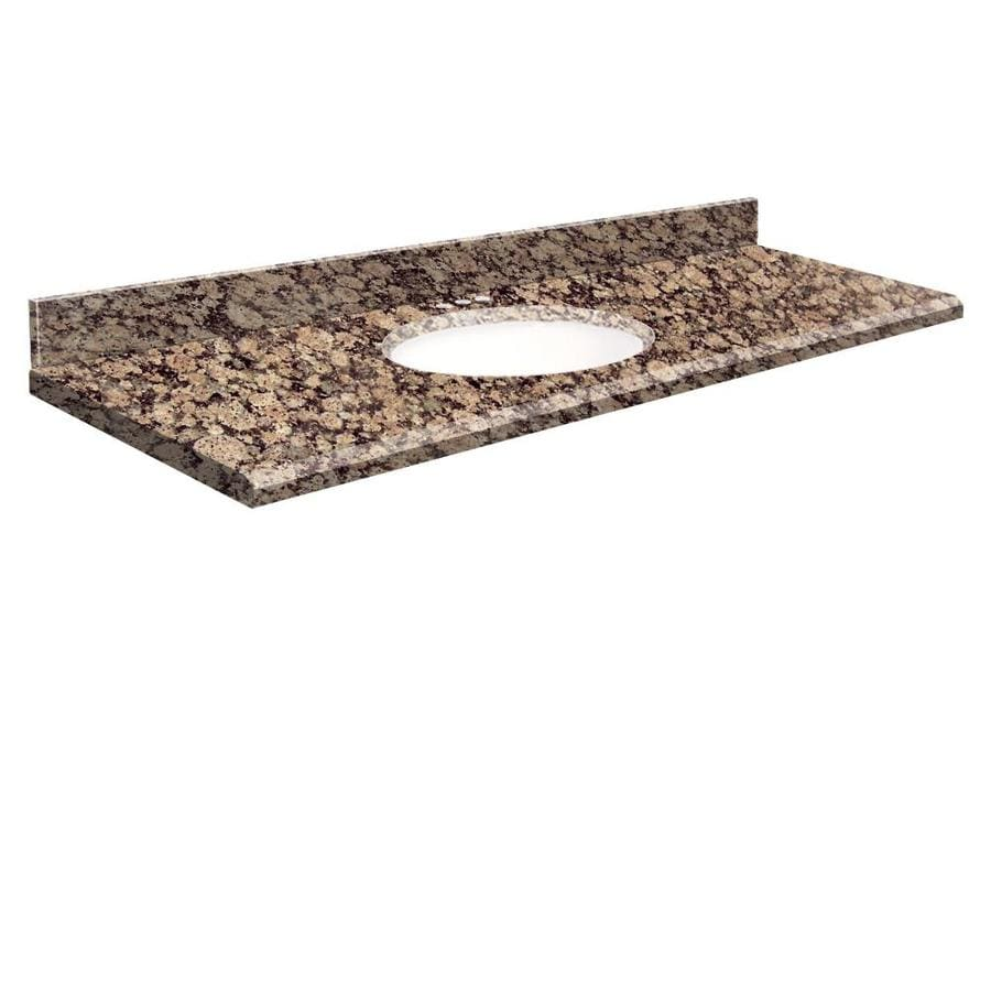 Transolid Baltic Brown Granite Undermount Single Sink Bathroom Vanity Top (Common: 61-in x 22-in; Actual: 61-in x 22-in)
