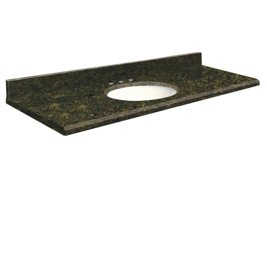Vanity top common 61 in x 22 in actual 61 in x 22 in at lowes com - Shop Transolid Uba Verde Granite Undermount Single Sink