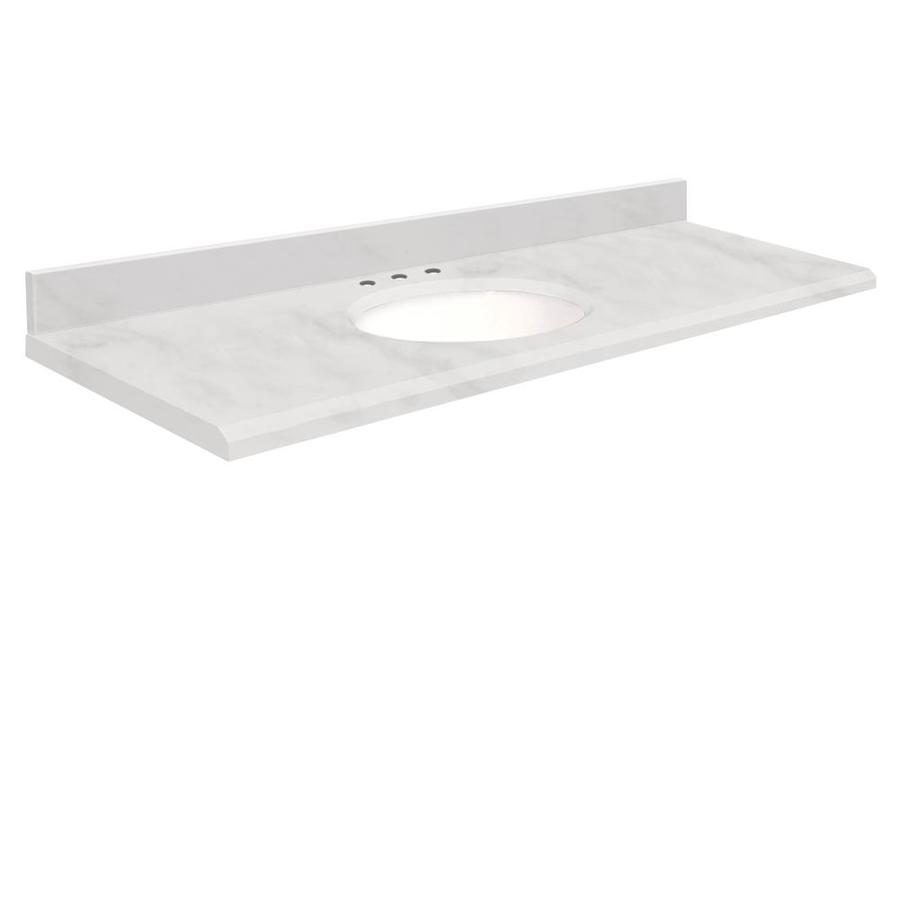 Transolid White Natural Marble Undermount Single Sink Bathroom Vanity Top (Common: 61-in x 22-in; Actual: 61-in x 22-in)