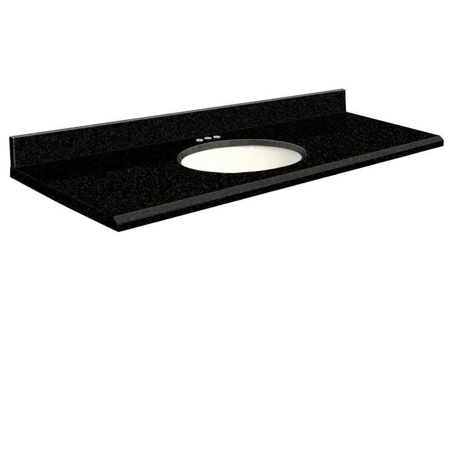 Transolid Absolute Black Granite Undermount Single Sink Bathroom Vanity Top (Common: 61-in x 22-in; Actual: 61-in x 22-in)