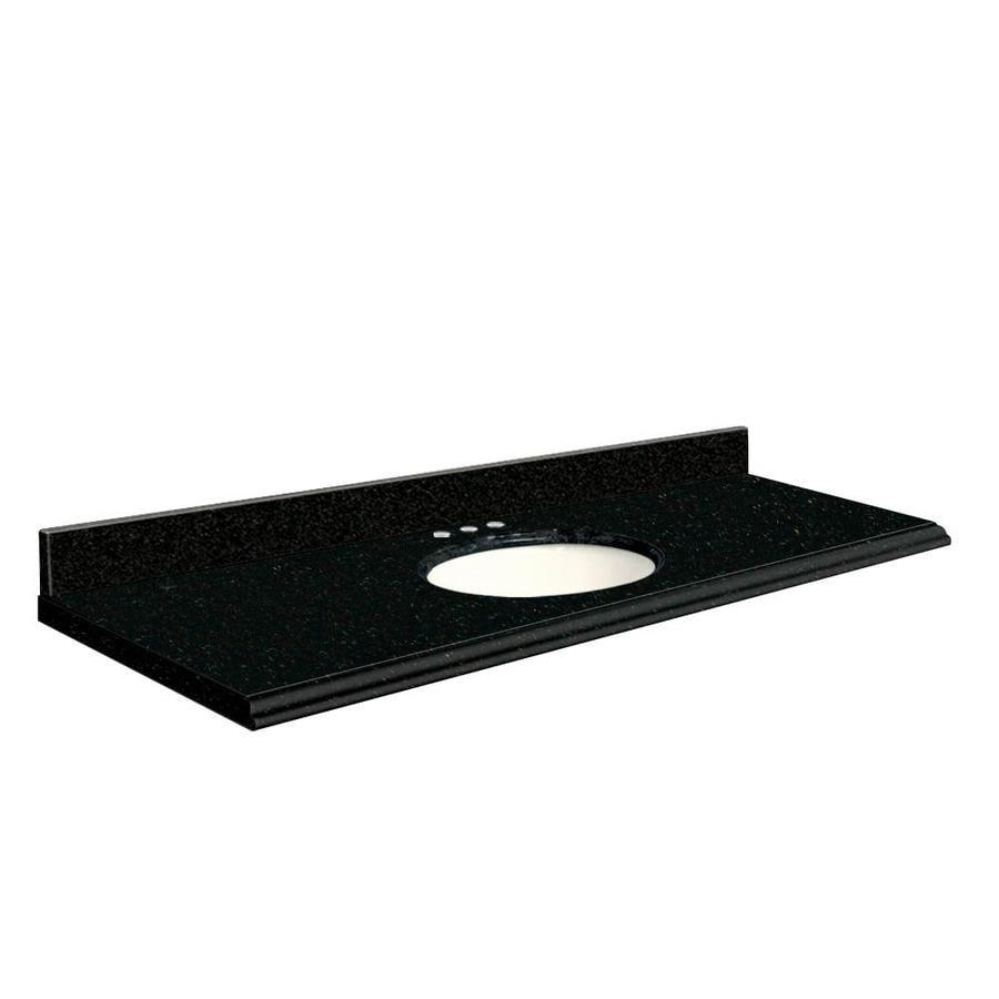 Transolid Absolute Black Granite Undermount Single Sink Bathroom Vanity Top (Common: 61-in x 22-in; Actual: 61-in x 22-in)