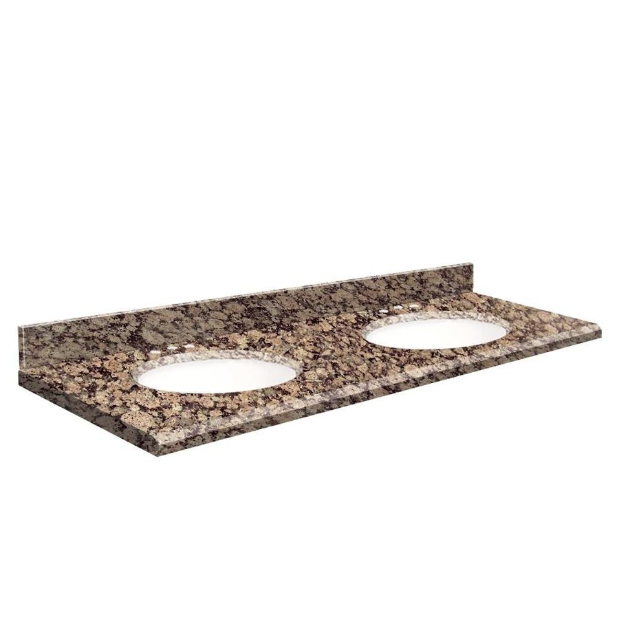 Transolid Baltic Brown Granite Undermount Double Bathroom Vanity Top (Common: 61-in x 22-in; Actual: 61-in x 22.25-in)