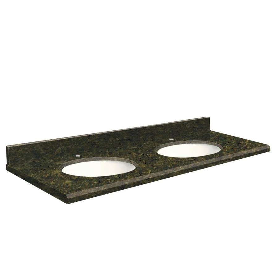 Transolid Uba Verde  Granite Undermount Double Sink Bathroom Vanity Top (Common: 61-in x 22-in; Actual: 61-in x 22.25-in)