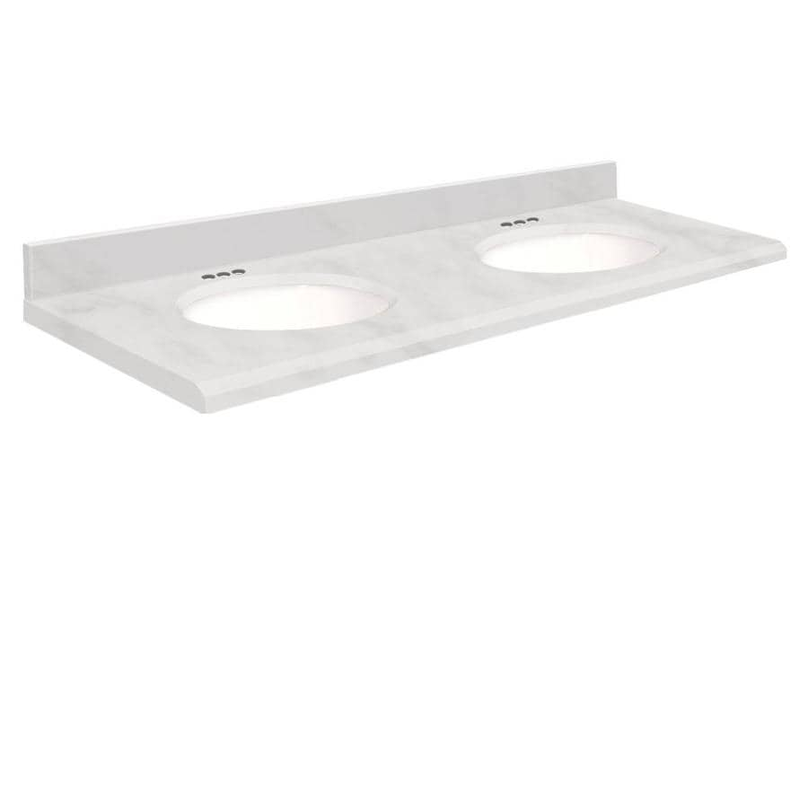 Transolid White Natural Marble Undermount Double Sink Bathroom Vanity Top (Common: 61-in x 22-in; Actual: 61-in x 22-in)