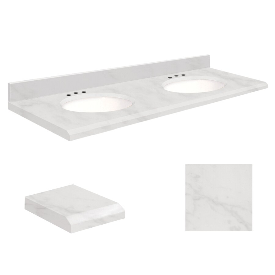 Transolid White Marble Natural Marble Undermount Double Bathroom Vanity Top (Common: 61-in x 22-in; Actual: 61-in x 22-in)