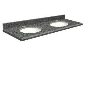 Transolid Granite Undermount Double Bathroom Vanity Top (Common: 61 In X 22