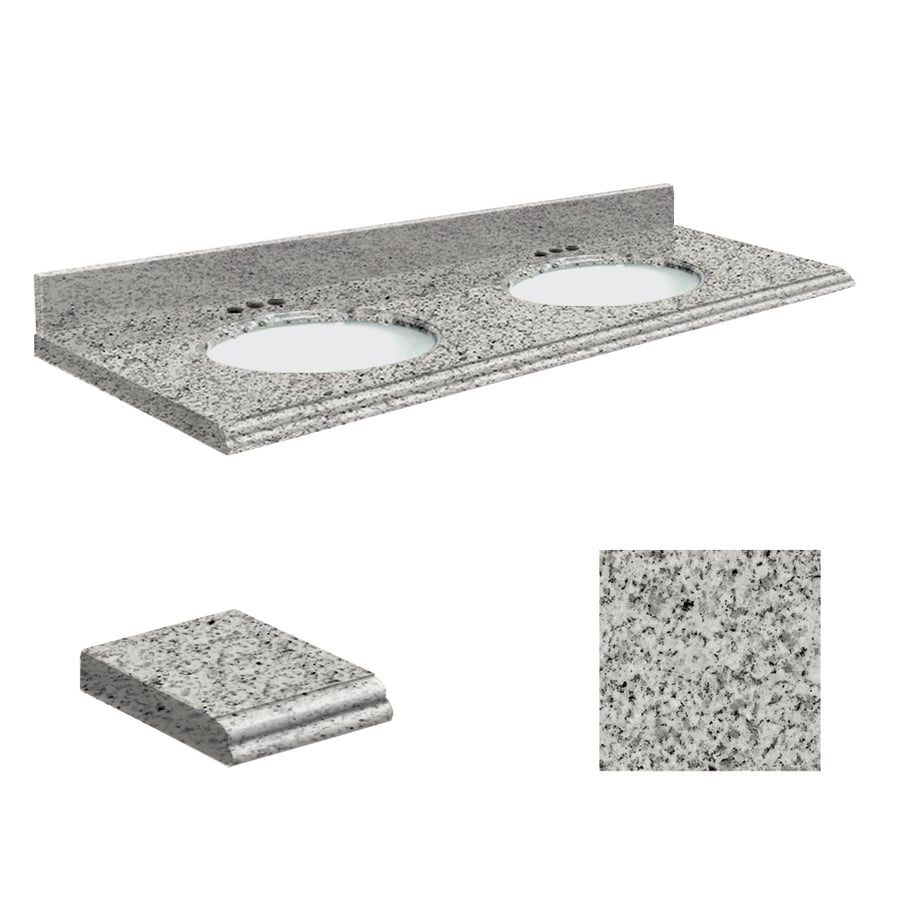 Transolid Rosselin White Granite Undermount Double Sink Bathroom Vanity Top (Common: 61-in x 22-in; Actual: 61-in x 22-in)