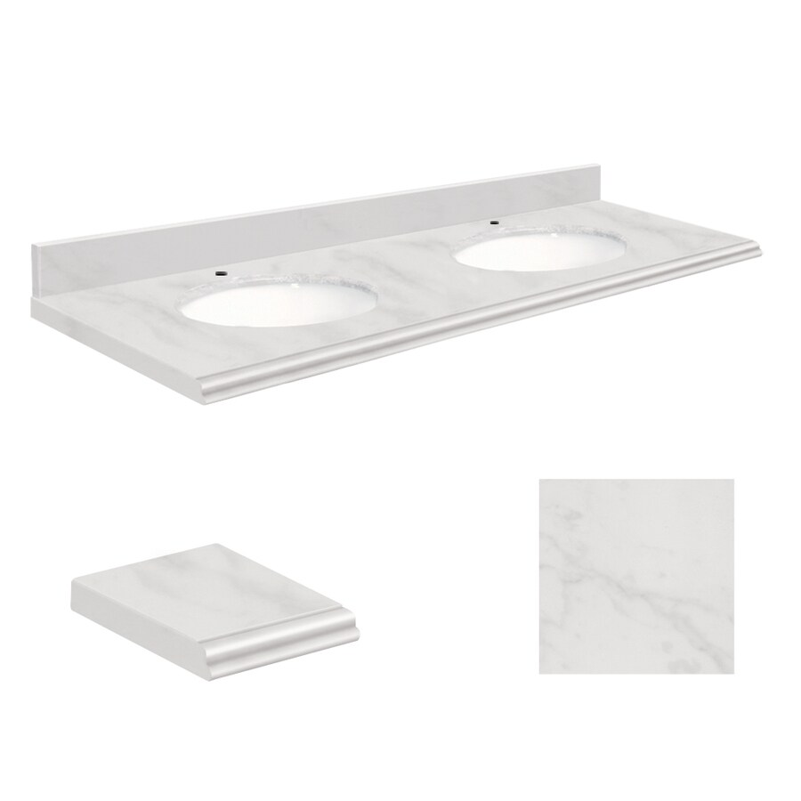 Transolid White Natural Marble Undermount Double Sink Bathroom Vanity Top (Common: 61-in x 22-in; Actual: 61-in x 22.25-in)