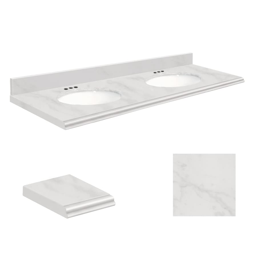 Transolid White Marble Natural Marble Undermount Double Sink Bathroom Vanity Top (Common: 61-in x 22-in; Actual: 61-in x 22.2500-in)