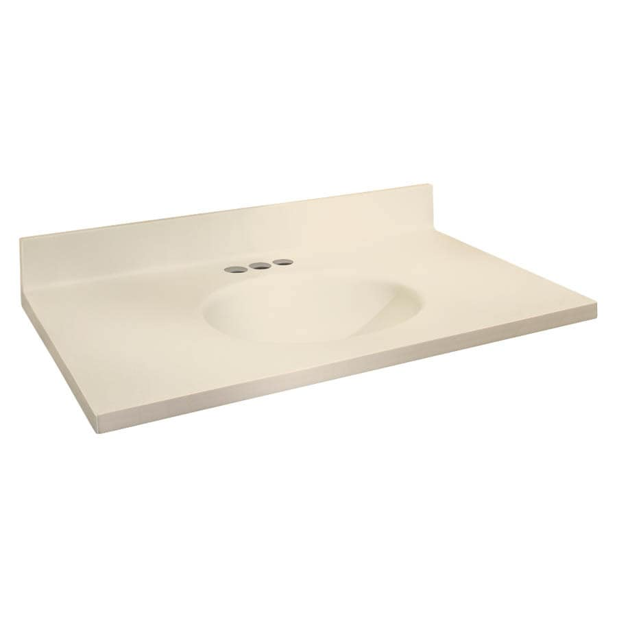 Transolid Chelsea Biscuit Solid Surface Integral Single Sink Bathroom Vanity Top Common 31 In X 19 Actual