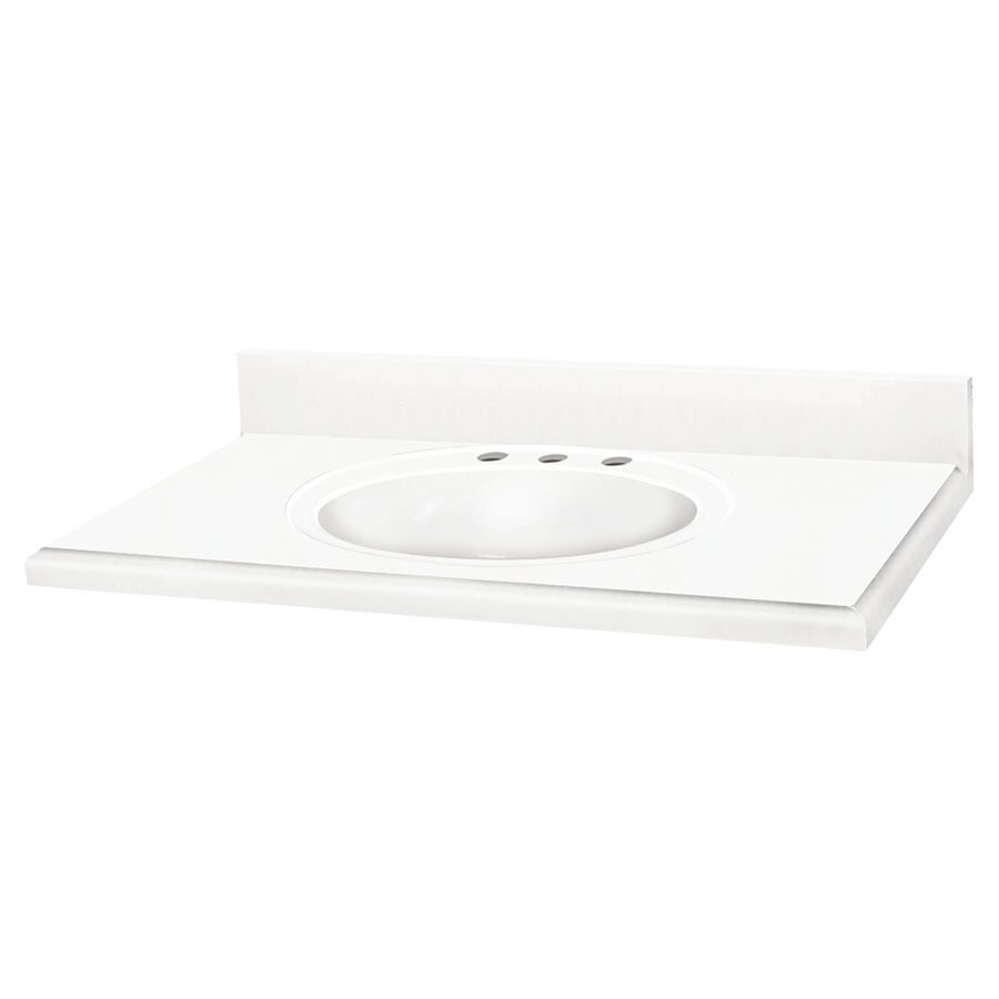 Transolid Decor White Solid Surface Integral Single Sink Bathroom Vanity Top (Common: 61-in x 22-in; Actual: 61-in x 22-in)