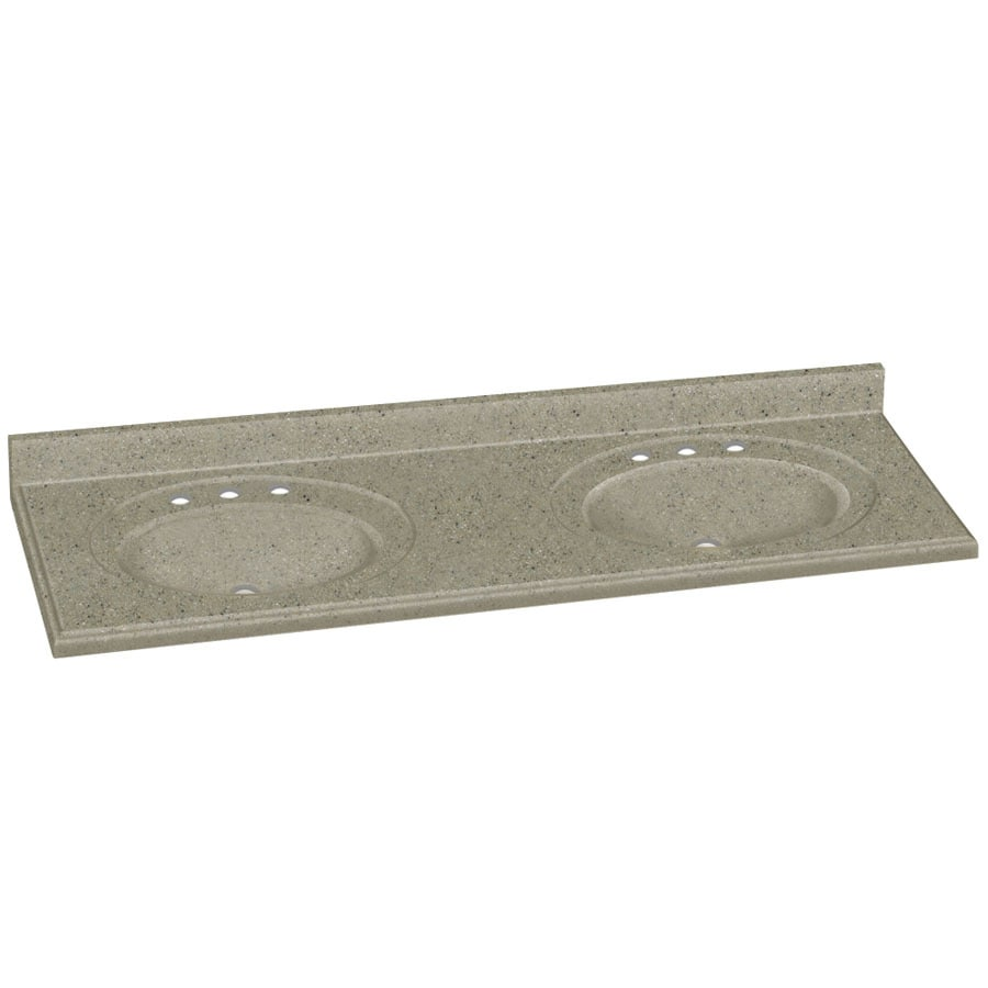 Double Bathroom Vanity Tops Solid Surface : Shop transolid decor peppered sage solid surface integral
