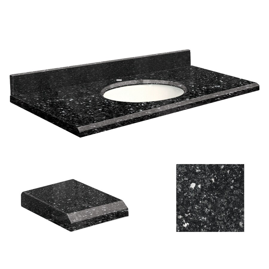 Transolid Notte Black Quartz Undermount Single Sink Bathroom Vanity Top (Common: 25-in x 19-in; Actual: 25-in x 19-in)