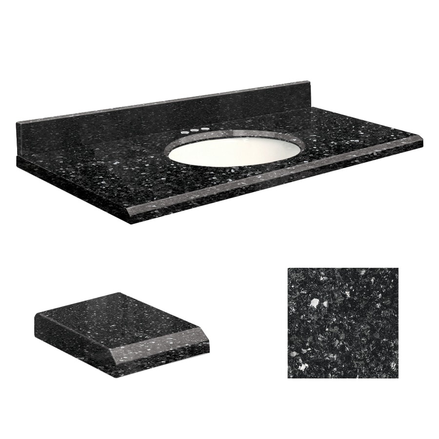 Transolid Notte Black Quartz Undermount Single Sink Bathroom Vanity Top (Common: 25-in x 19-in; Actual: 25-in x 19-in)