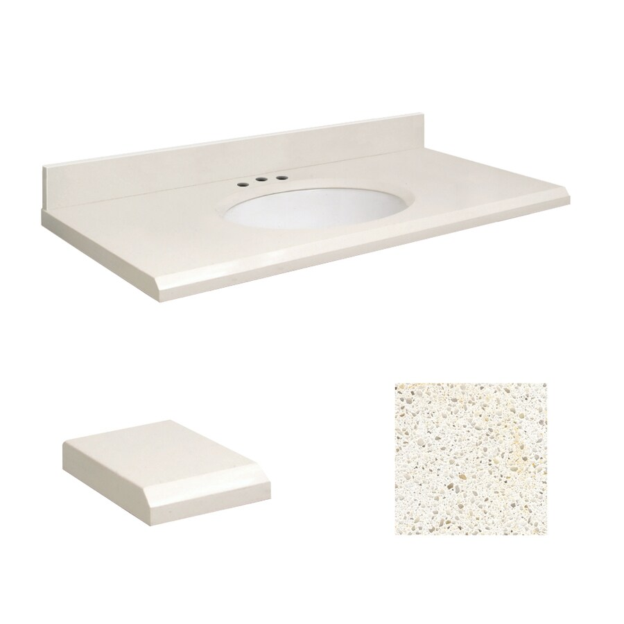 Transolid Milan White Quartz Undermount Single Bathroom Vanity Top (Common: 25-in x 19-in; Actual: 25-in x 19.25-in)