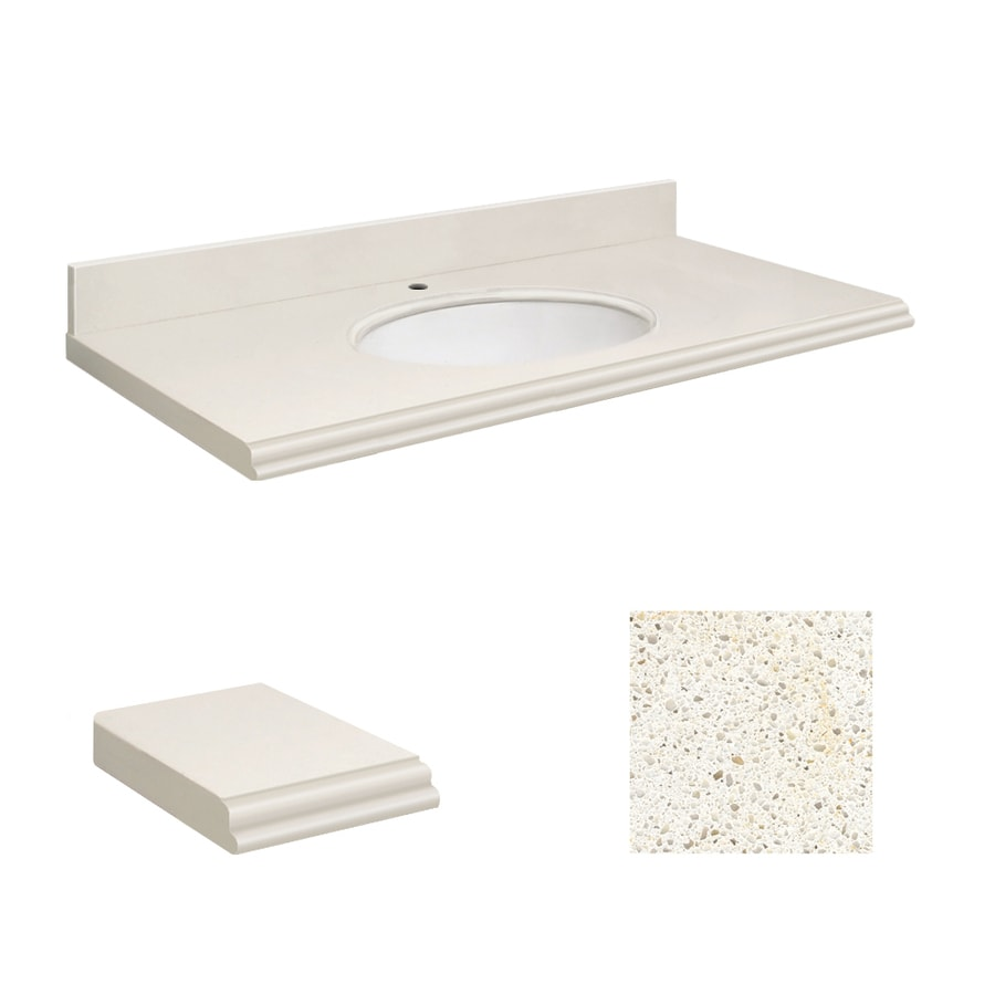 Transolid Milan White Quartz Undermount Single Sink Bathroom Vanity Top (Common: 25-in x 19-in; Actual: 25-in x 19-in)