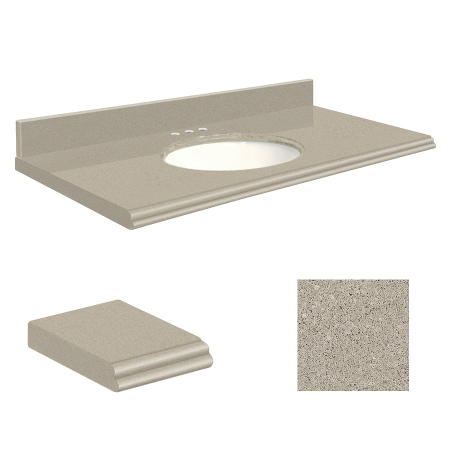 Transolid Olympia Gray Quartz Undermount Single Sink Bathroom Vanity Top (Common: 25-in x 19-in; Actual: 25-in x 19-in)