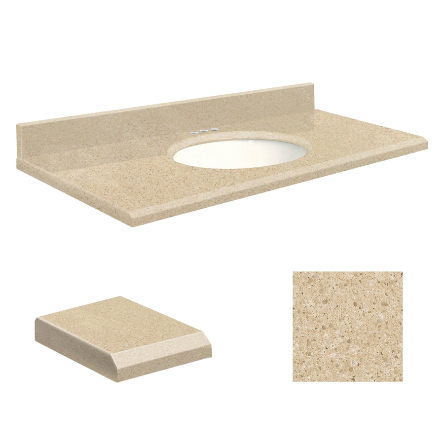 Transolid Durum Cream  Quartz Undermount Single Sink Bathroom Vanity Top (Common: 25-in x 22-in; Actual: 25-in x 22-in)