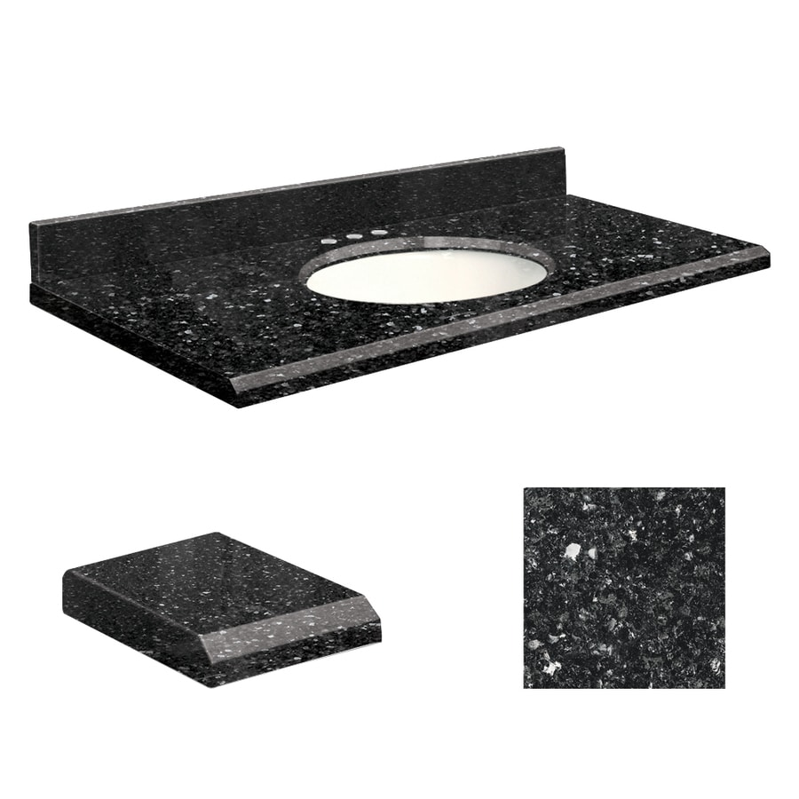 Transolid Notte Black Quartz Undermount Single Sink Bathroom Vanity Top (Common: 25-in x 22-in; Actual: 25-in x 22-in)