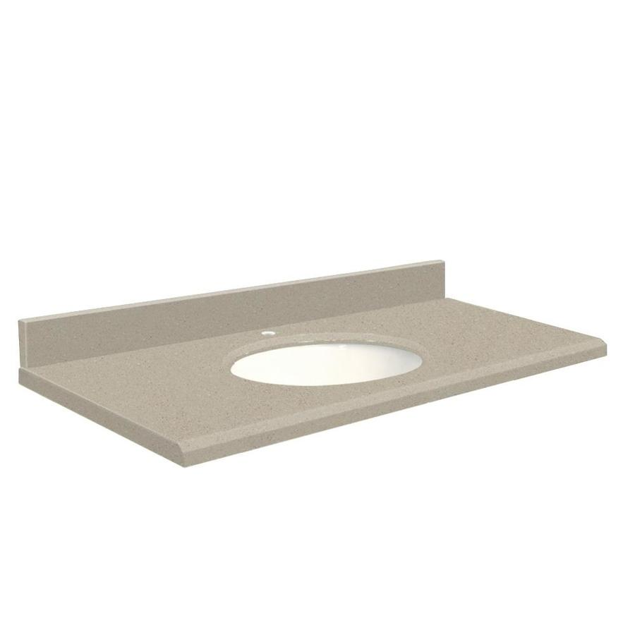 Transolid Olympia Gray Quartz Undermount Single Bathroom Vanity Top (Common: 25-in x 22-in; Actual: 25-in x 22-in)