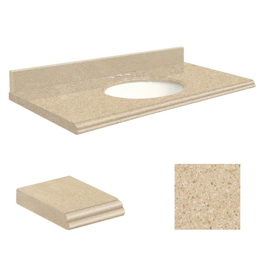 Transolid Durum Cream Quartz Undermount Single Bathroom Vanity Top (Common: 25-in x 22-in; Actual: 25-in x 22.25-in)