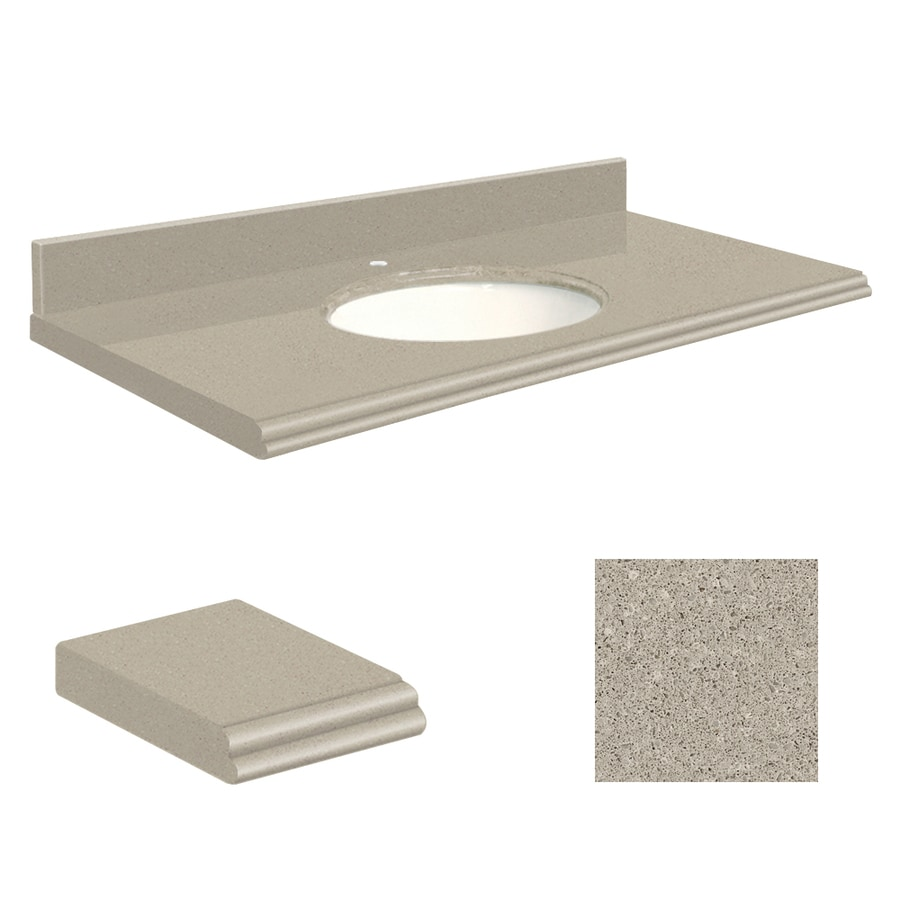 Transolid Olympia Gray Quartz Undermount Single Sink Bathroom Vanity Top (Common: 25-in x 22-in; Actual: 25-in x 22-in)