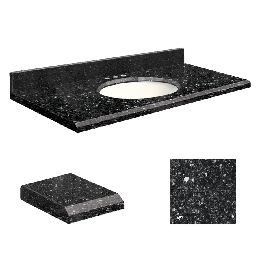 Transolid Notte Black Quartz Undermount Single Sink Bathroom Vanity Top (Common: 31-in x 19-in; Actual: 31-in x 19-in)