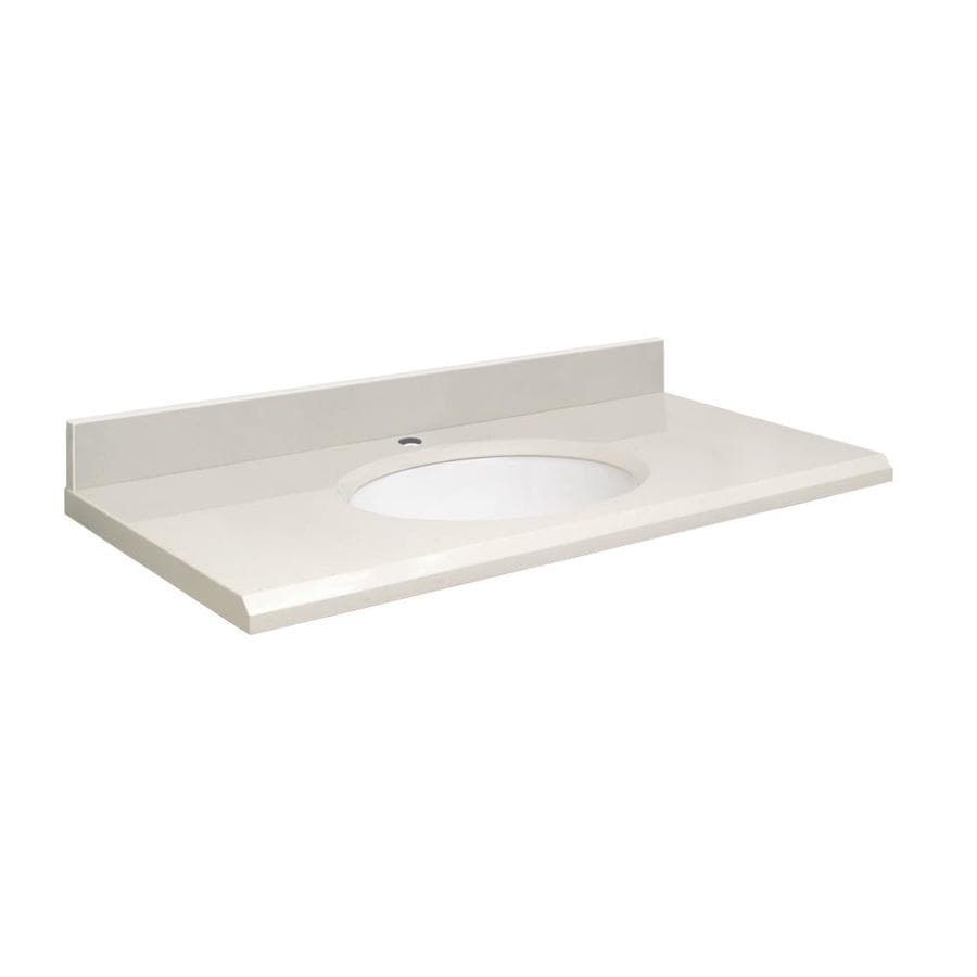Transolid Milan White Quartz Undermount Single Sink Bathroom Vanity Top (Common: 31-in x 22-in; Actual: 31-in x 22-in)