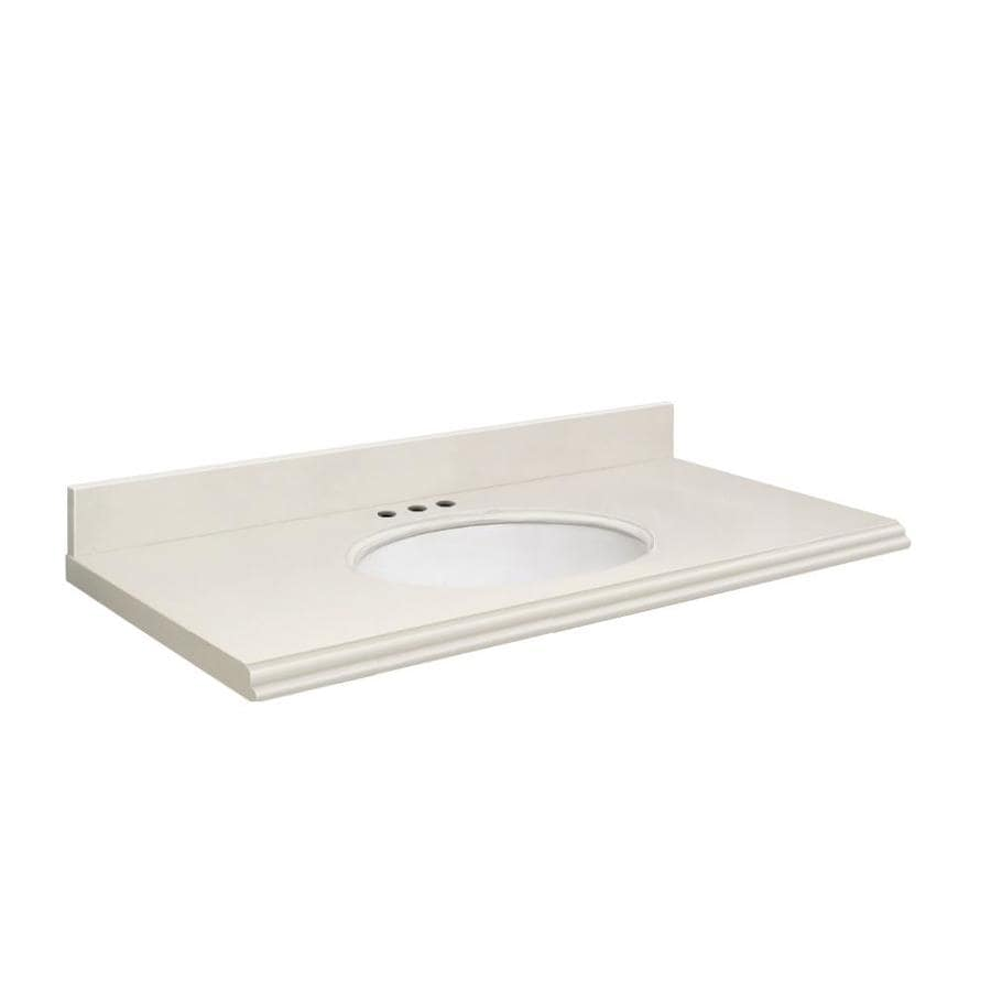 Transolid Milan White Quartz Undermount Single Sink Bathroom Vanity Top (Common: 37-in x 19-in; Actual: 37-in x 19-in)
