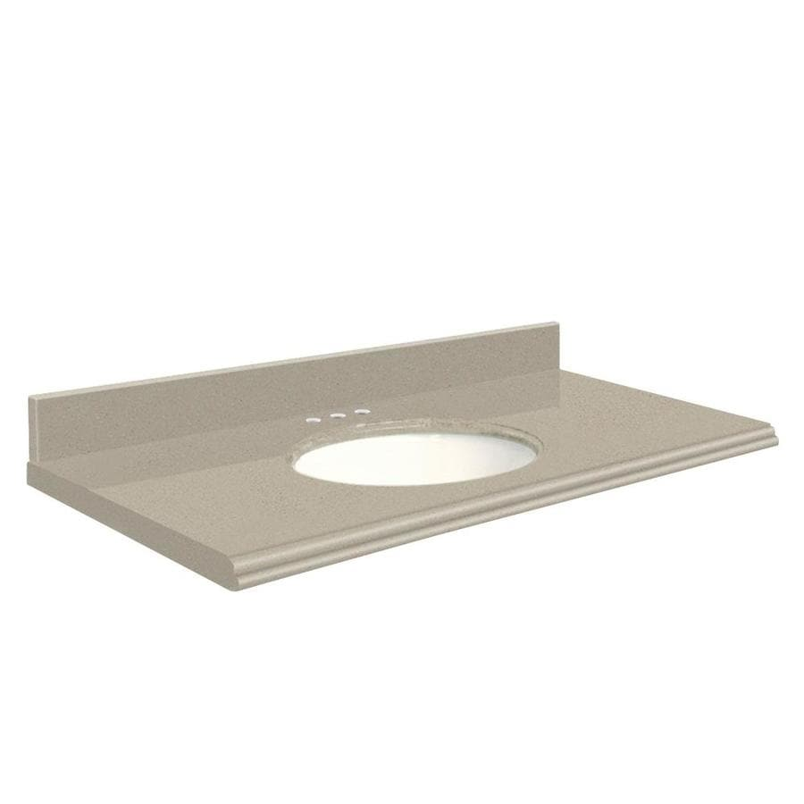 Transolid Olympia Gray Quartz Undermount Single Bathroom Vanity Top (Common: 37-in x 22-in; Actual: 37-in x 22-in)
