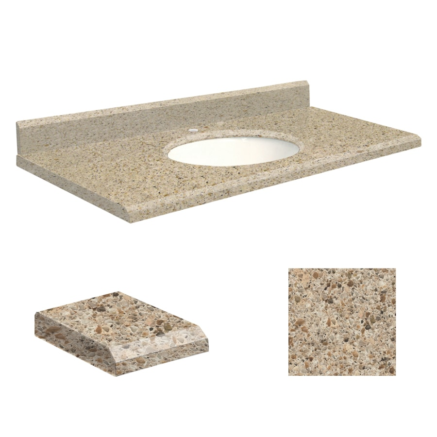 Transolid Sorrento Coast Quartz Undermount Single Sink Bathroom Vanity Top (Common: 43-in x 22-in; Actual: 43-in x 22-in)