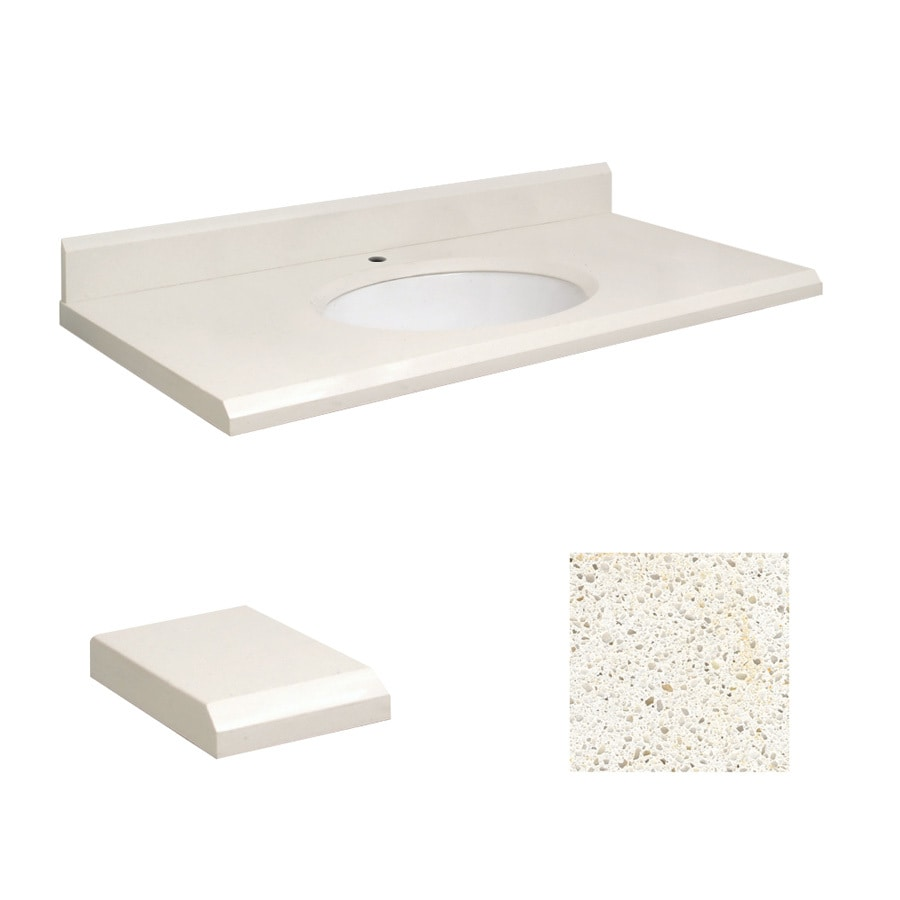 Transolid Milan White Quartz Undermount Single Sink Bathroom Vanity Top (Common: 43-in x 22-in; Actual: 43-in x 22-in)