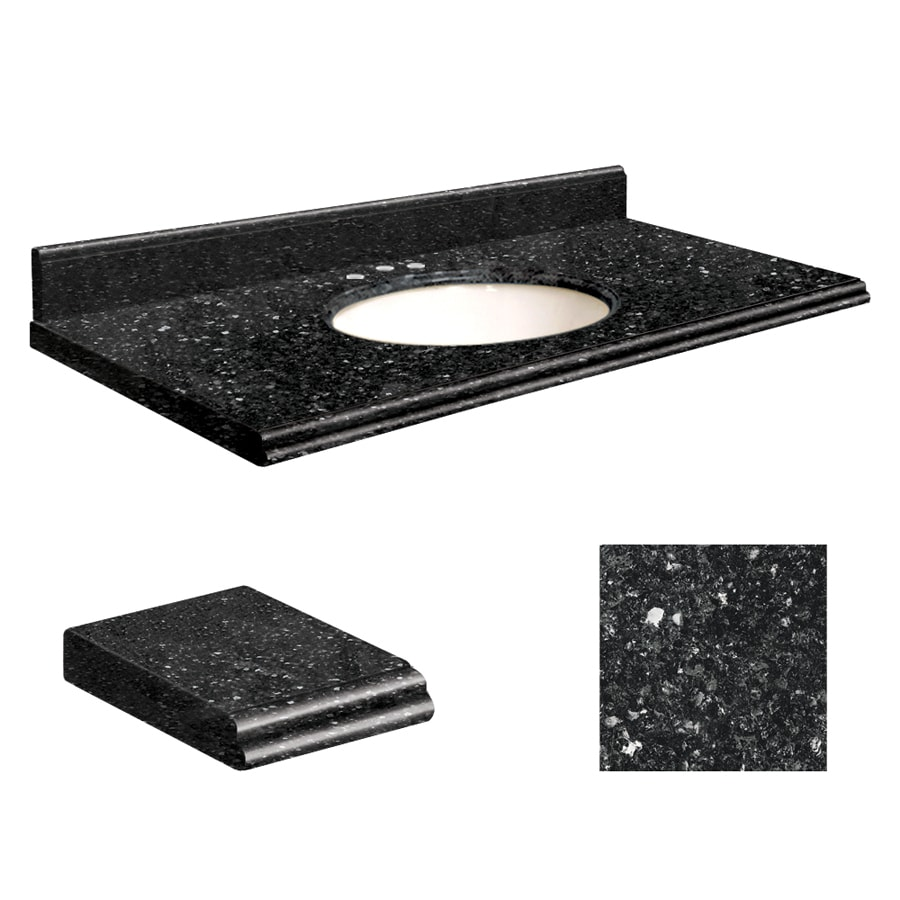 Transolid Notte Black Quartz Undermount Single Bathroom Vanity Top (Common: 43-in x 22-in; Actual: 43-in x 22-in)